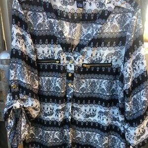 Elephant Print Blouse w/ Gold Zipper Detailing